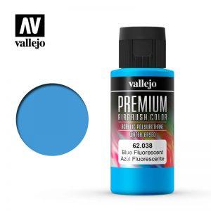 Vallejo   Premium Airbrush Colour Premium Color 60ml: Blue Fluorescent - VAL62038 - 8429551620383
