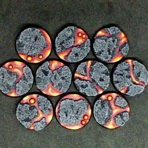 Baker Bases   Lava Lava: 25mm Round Bases (10) - CB-LV-01-25M - CB-LV-01-25M