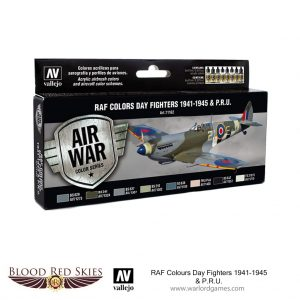 Vallejo Blood Red Skies  Paint Sets RAF Colors Day Fighters 1941-1945 & P.R.U. - VAL71162 - 8429551711623