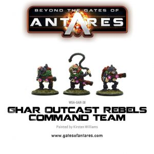 Warlord Games Beyond the Gates of Antares  Ghar Rebels Ghar Outcast Rebels Command Team - WGA-GAR-38 - 5060393703853