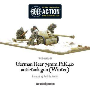 Warlord Games Bolt Action  Germany (BA) German Heer 75mm Pak 40 anti-tank gun (Winter) - WGB-WHR-31 - 5060393702986