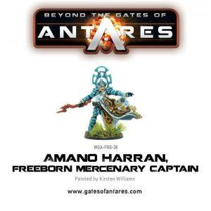 Warlord Games Beyond the Gates of Antares  Freeborn Amano Harran, Freeborn Mercenary Captain - WGA-FRB-38 - 5060393703914