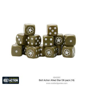 Warlord Games Bolt Action  Bolt Action Books & Accessories Allied Star D6 Dice (16) - 408403001 - 5060393708605