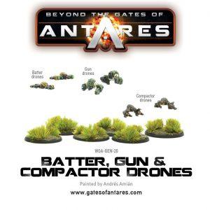 Warlord Games Beyond the Gates of Antares  Antares Essentials Batter, Gun & Compactor Drones - WGA-GEN-20 - 5060393703709
