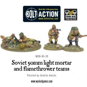 Warlord Games Bolt Action  Soviet Union (BA) Soviet 50mm Light Mortar & Flamethrower teams - WGB-RI-39 - DUPLICATE BARCODE WITH WGN-FR-36?