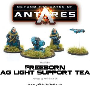 Warlord Games Beyond the Gates of Antares  Freeborn Freeborn Support Team with Mag Light support - WGA-FRB-24 - 5060393702139