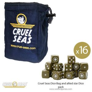 Warlord Games Cruel Seas  Cruel Seas Cruel Seas Dice Bag and allied star Dice pack - 788901301 - 788901301