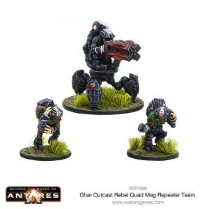 Warlord Games Beyond the Gates of Antares  Ghar Rebels Ghar Outcast Rebel Quad mag repeater team - WGA-GAR-503015005 - 5060393705611