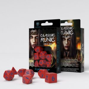 Q-Workshop   RPG / Polyhedral Classic Runic Red & blue Dice Set (7) - SCLR2A - 5907699494255