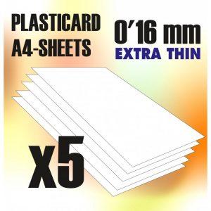 Green Stuff World   Plasticard ABS Plasticard A4 - 0,16mm COMBOx5 sheets - 8436554368129ES - 8436554368129