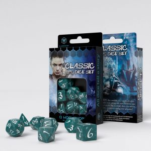 Q-Workshop   Q-Workshop Dice Classic RPG Stormy & white Dice Set (7) - SCLE1A - 5907699493845