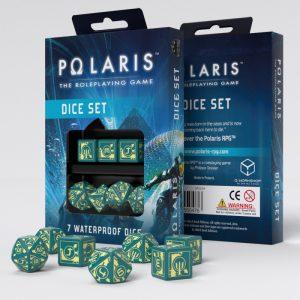 Q-Workshop   Q-Workshop Dice Polaris RPG Turquoise & light yellow dice, 3D6 +3D10 + 1D20 (7) - SPOL94 - 3760245550476