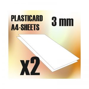Green Stuff World   Plasticard ABS Plasticard A4 - 3 mm COMBOx2 sheets - 8436554366088ES - 8436554366088