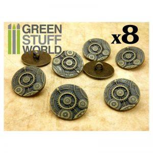Green Stuff World   Costume & Cosplay 8x Steampunk Buttons GEARS MECHANISM - Bronze - 8436554365951ES - 8436554365951