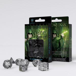 Q-Workshop   Q-Workshop Dice Elvish Translucent & black Dice Set (7) - SELV10 - 5907814951243