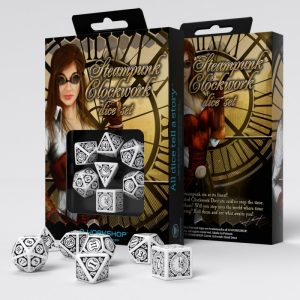 Q-Workshop   Q-Workshop Dice Steampunk Clockwork White & black Dice Set (7) - SSTC02 - 5907699492879