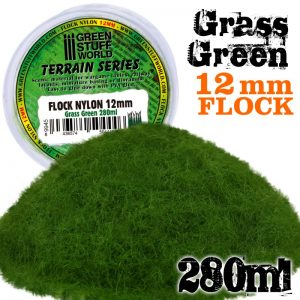 Green Stuff World   Sand & Flock Static Grass Flock 12mm - Grass Green - 280 ml - 8436574504446ES - 8436574504446