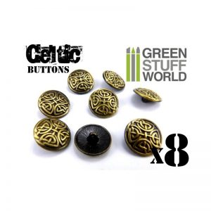 Green Stuff World   Costume & Cosplay 8x CELTIC eternal Knuds Buttons - Antique Gold – 5/8 inches - 17mm - 8436554366453ES - 8436554366453