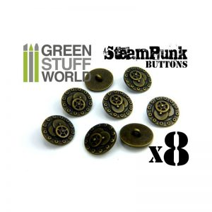 Green Stuff World   Costume & Cosplay 8x Steampunk Buttons BOLTS and GEARS - Bronze - 8436554366644ES - 8436554366644