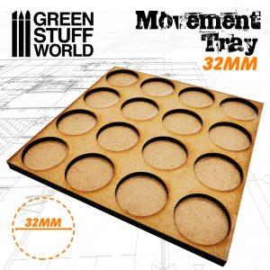 Green Stuff World   Movement Trays MDF Movement Trays 32mm 4x4 -  Skirmish Lines - 8436574502893ES - 8436574502893