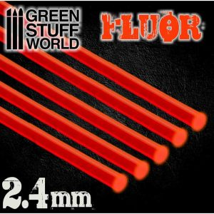 Green Stuff World   Acrylic Rods Acrylic Rods - Round 2.4 mm Fluor RED-ORANGE - 8436554367535ES - 8436554367535