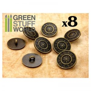 Green Stuff World   Costume & Cosplay 8x Steampunk Buttons OLD WATCH - Bronze - 8436554365975ES - 8436554365975