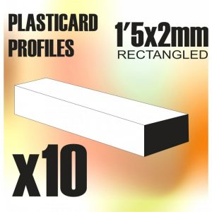 Green Stuff World   Plasticard ABS Plasticard - Profile RECTANGLED ROD 1.5x2 mm - 8436554367443ES - 8436554367443