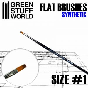 Green Stuff World   Synthetic Brushes Flat Nylon Brush Size 1 - 8436574502640ES - 8436574502640