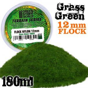 Green Stuff World   Sand & Flock Static Grass Flock 12mm - Grass Green - 180 ml - 8436574504392ES - 8436574504392