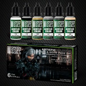 Green Stuff World   Acrylic Paints Paint Set - Black and White - 8436574506228ES - 8436574506228