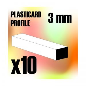 Green Stuff World   Plasticard ABS Plasticard - Profile SQUARED ROD 3 mm - 8436554366934ES - 8436554366934