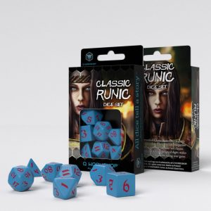 Q-Workshop   RPG / Polyhedral Classic Runic Blue & red Dice Set (7) - SCLR2D - 5907699494187