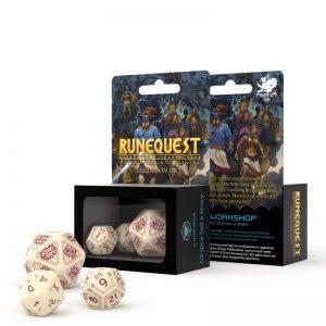 Q-Workshop   Q-Workshop Dice RuneQuest Beige & burgundy Expansion Dice (3) - SRQE87 - 5907699493890
