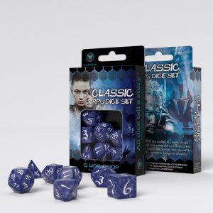 Q-Workshop   Q-Workshop Dice Classic RPG Cobalt & white Dice Set (7) - SCLE85 - 5907699493319