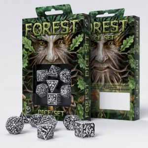 Q-Workshop   Q-Workshop Dice Forest 3D White & black Dice Set (7) - SFOR02 - 5907699491506