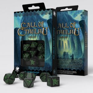 Q-Workshop   Q-Workshop Dice Call of Cthulhu Black & green Dice Set (7) - SCTH21 - 5907699490066