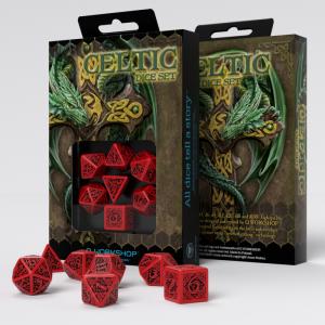 Q-Workshop   Celtic 3D Celtic 3D Revised Red & black Dice Set (7) - SCER04 - 5907699491667