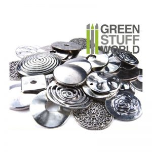 Green Stuff World   Modelling Extras Flat Round LINKS Beads 85gr - LARGE - 8436554365852ES - 8436554365852