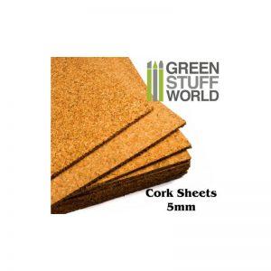 Green Stuff World   Cork GSW Cork Sheet in 5mm - A4 Size - 8436554360086ES - 8436554360086