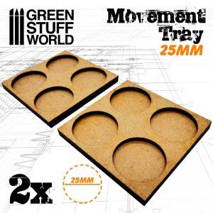 Green Stuff World   Movement Trays MDF Movement Trays 25mm 2x2 -  Skirmish Lines - 8436574502855ES - 8436574502855