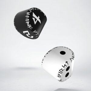 Q-Workshop   Q-Workshop Dice D2&D4 Runic Dice: 1x White&black D2 + 1x Black&white D4 (2) - 24ERU02 - 5907699492572