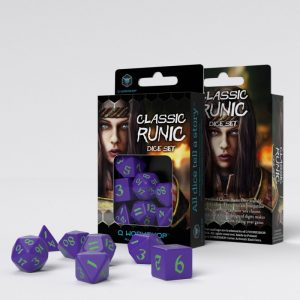 Q-Workshop   RPG / Polyhedral Classic Runic Purple & green Dice Set (7) - SCLR76 - 5907699494224