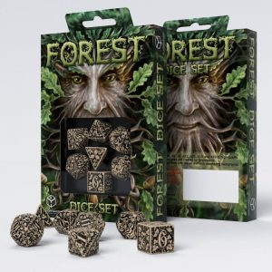 Q-Workshop   Forest Forest 3D Beige & black Dice Set (7) - SFOR18 - 5907699491544