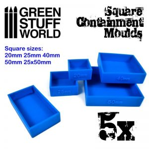 Green Stuff World   Mold Making 5x Containment Moulds for Bases - Square - 8436574505009ES - 8436574505009
