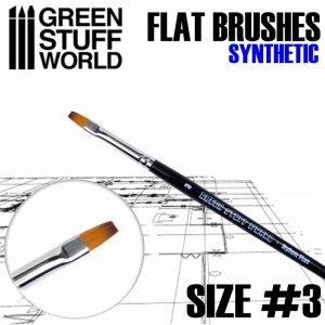 Green Stuff World   Synthetic Brushes Flat Nylon Brush Size 3 - 8436574502657ES - 8436574502657