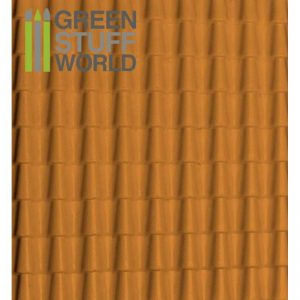 Green Stuff World   Plasticard ABS Plasticard - ROOF TILES Textured Sheet - A4 - 8436554362349ES - 8436554362349
