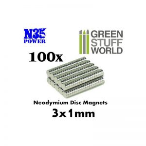 Green Stuff World   Magnets Neodymium Magnets 3x1mm - 100 units (N35) - 8436554365609ES - 8436554365609