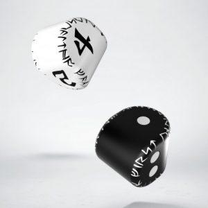 Q-Workshop   Q-Workshop Dice D2&D4 Runic Dice: 1x Black&white D2 + 1x White&black D4 (2) - 24ERU05 - 5907699492589