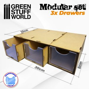 Green Stuff World   Paint Racks Modular Set 3x Drawers - 8436574505290ES - 8436574505290