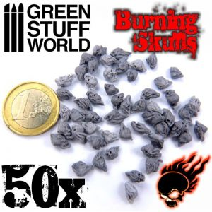 Green Stuff World   Green Stuff World Conversion Parts 50x Resin Burning Skulls - 8436554364985ES - 8436554364985